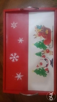 Leather Christmas tray never been used 50 cm