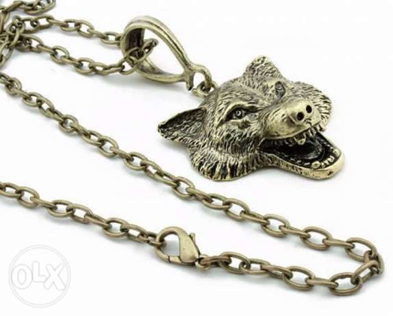 Game Of Thrones Stark Wolf Head Pendant necklace الدورة -  3