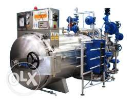 Factory, industrial food processing, production line retort autoclave
