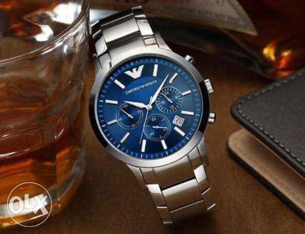 Genuine silver and blue EA watch for men