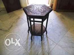 Table Hexagon Antique (grandfathers 1900's) inlaid 58 w 58 L 75 H