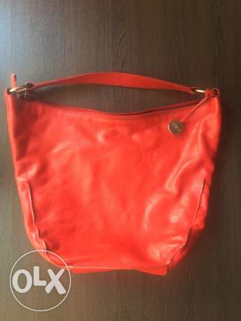 Red real leather Furla bag for sale