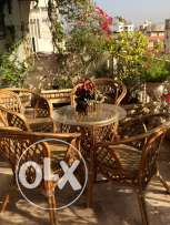 Italian fancy pots and a set of bamboo table with four chairs