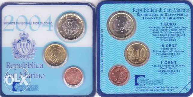 San Marino - set 3 Uncirculated coins 1 - 10 Cents & 1 Euro 2004