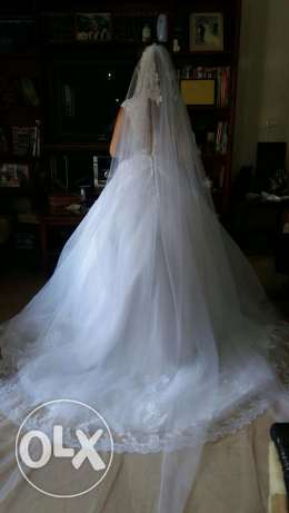 dressFor rent wedding dress hight quality used once white color كسروان -  3