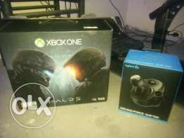 x box one halo edition with steering wheel g920 and tv 42 inch full hd