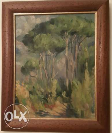César gemayel oil on canvas mountain landscape