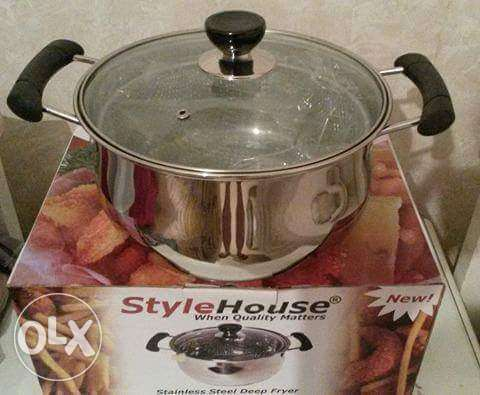 stainless steel double frying pot