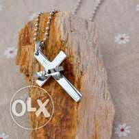 Stainless steel Cross-ring pendant chain necklace (2 pics) We deliver