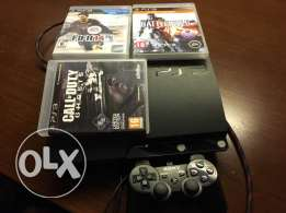 Playstation 3 With 1 Controller and 3 Games