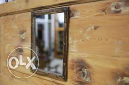 Mirror with old wooden frame
