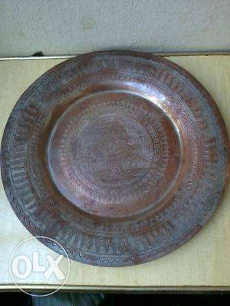 Old copper plate hand made decorated with big cedar, 25$