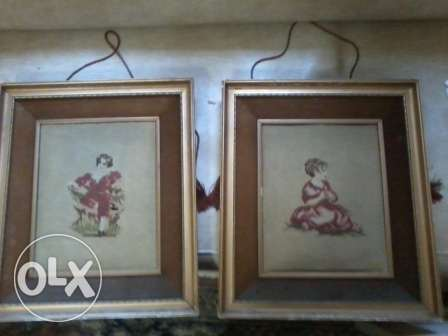 Old Paire Aubusson end 19 century, wood and velourr frames 70x50cm,