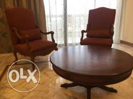 2 Bergere chair + table
