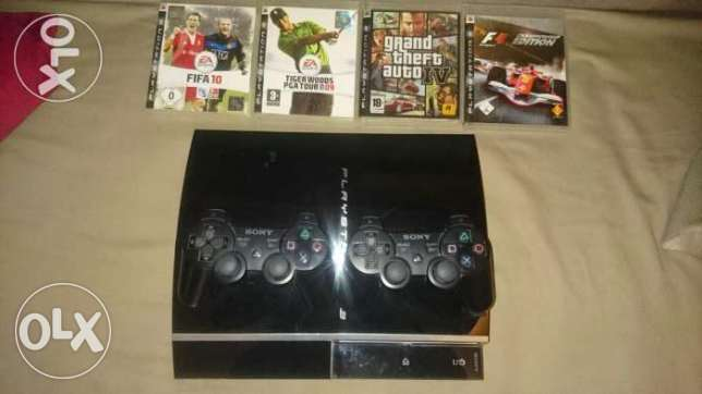 Ps3 good condition+2joysticks+4 games