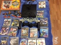PS3+2 controller + 2 cover + charger