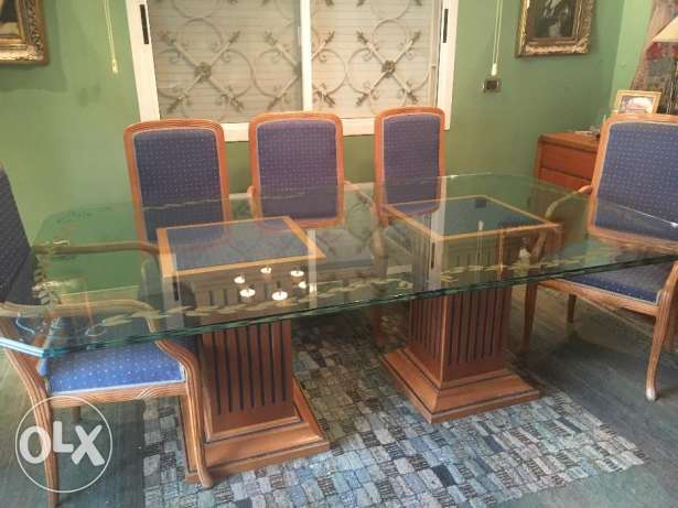 Hand Engraved Glass Dining Table