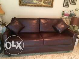 3 genuine leather Sofa Bed for sale