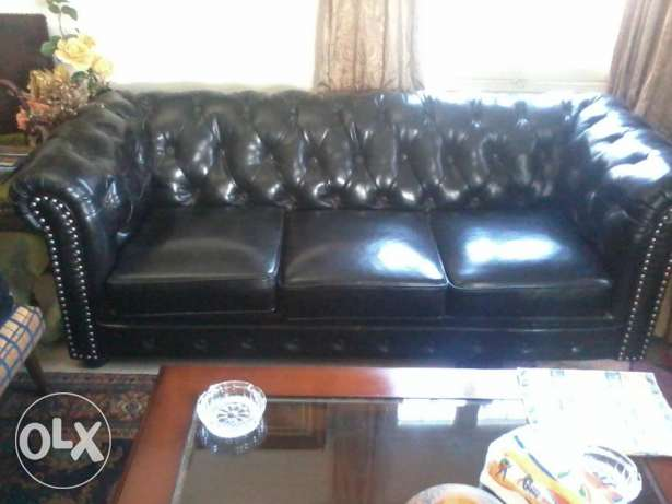 Amazing Real Leather Saloon, Black, design Chesterfield, 3 pieces, المتن -  2