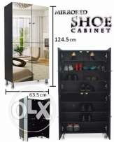 Black shoe cabinet with mirrors