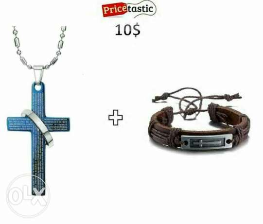 Cross bracelet with cross necklace