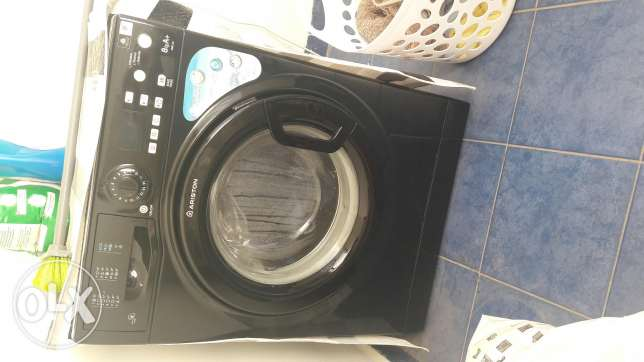 Washing machine in black and silver