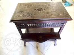 Table inlaid wood with side leaf's Antique grandfathers1900's
