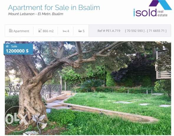 Luxurious apartment with 700 m2 garden for sale in Bsalim (sea view)