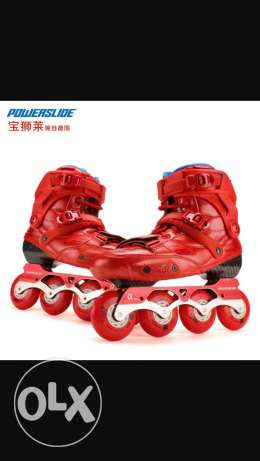 red roller skates with portable bag for kids