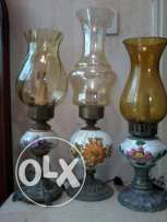 bronze, copper and porcelaine, Old Lamps, from Italy, 40cm, each 27$
