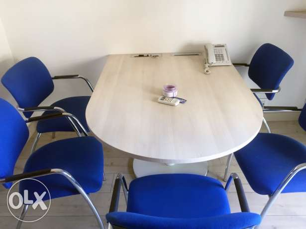 meeting table desk + 5 chairs barley used