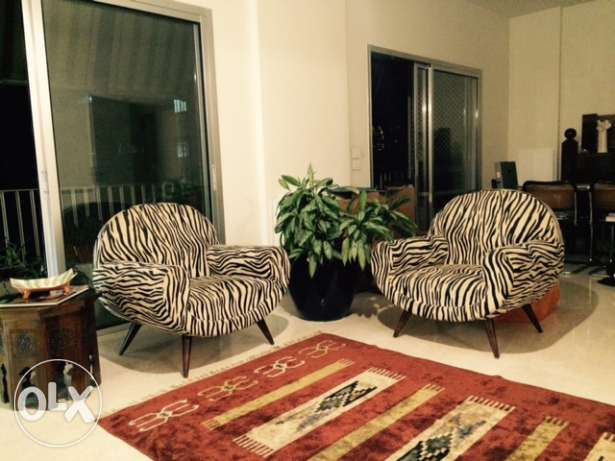 Vintage Armchairs + Rug for sale
