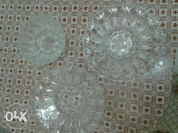 3 glass pieces set for serving fruits and sweets