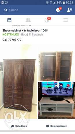 Shoes cabinet + white tv table fir sale