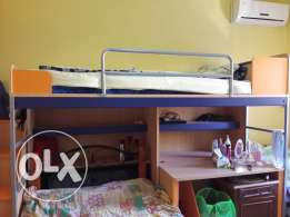 1 Bunk bed + study desk+ stairs. Excellent condition.