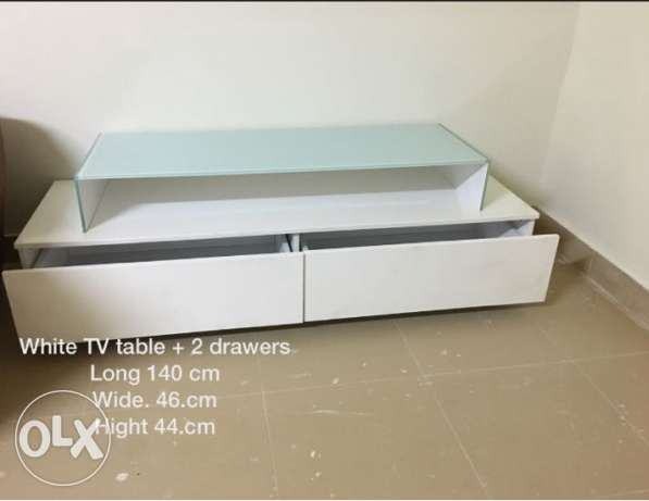 white TV table رابية -  1