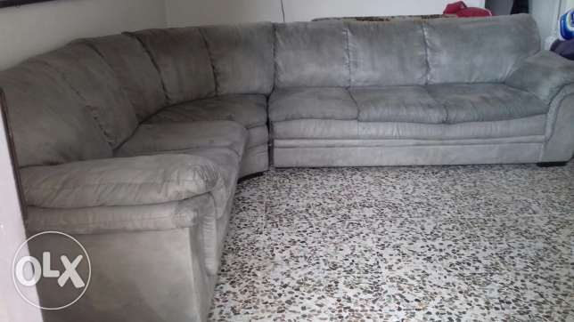sofa corner - grey color - used but in good condition -teflon texture