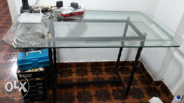Very nice desk with fer forge & glass