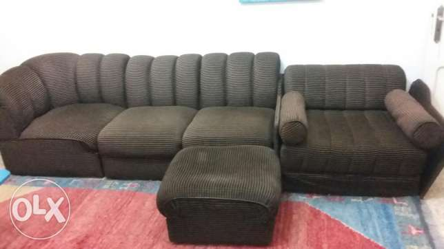 multi-piece sofa with one sofa bed and one pouf