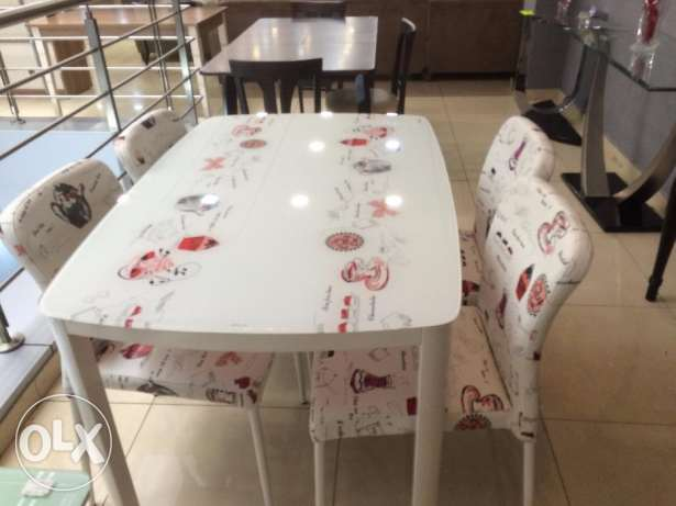 New Kitchen Table In Cover with Four Chairs -White & Brick-Khalde Area