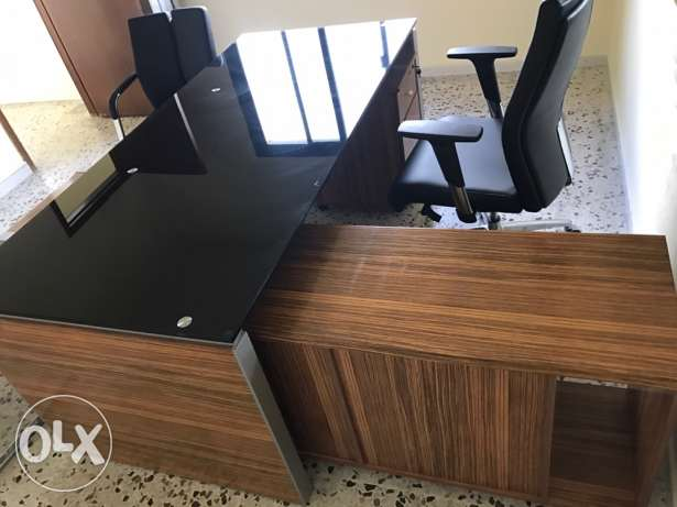 office desk with 3 chairs