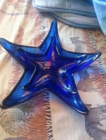 Two blue stars plates or ashtrays, so beautiful