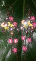 Boucles d'oreilles (hand made coulered )style printemps