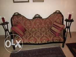 Victorian antique sofa + side tables