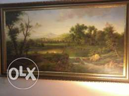 Tableau oil Painting, 30-40 years, wood frame, hand made signe Chabbaz