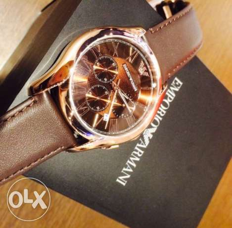 the new EA brown and rose gold leather watch وسط المدينة -  2