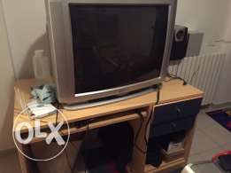 bedroom with tv and computer stand