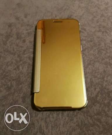 Mirror S7 edge cover + screen protector gold
