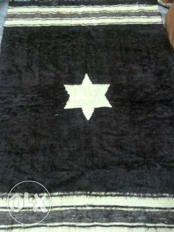 2 Black and Beige Wool Rugs LOW PRICE