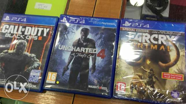 Far Cry Primal,Uncharted 4,COD black ops 3,Fallout 4